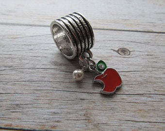 Apple Scarf Accessory, Decoration- Apple Charm with an accent bead in your choice of colors -Scarf Bling