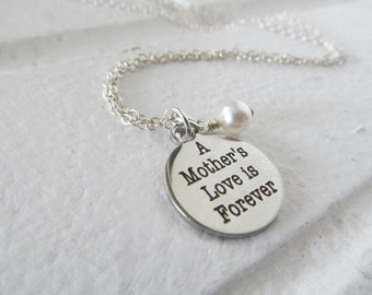 "Mother's Charm Necklace- ""A Mother's Love is Forever"" laser etched charm with an accent bead in your choice of colors"