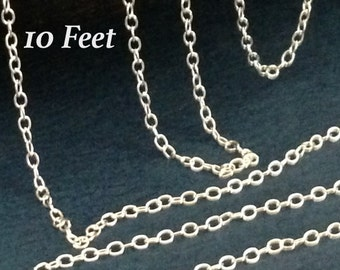 Sterling Silver Cable Chain - Ladies Feminine - 2mm x 1.5mm - 10 Ft   CH39-10