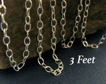 Sterling Silver Cable Chain - Medium to Large Link Charm Bracelet or Necklace Chain 3 FT -   5mm   CH44