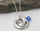 Handprint Necklace, Baby Handrint Necklace With Birthstone, Your Child's Actual Handprint or Footprint