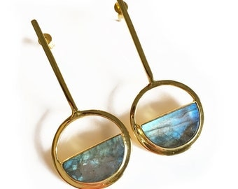 Moon Gazer long earring- Labradorite statement earring, modern jewelry, labradorite earring