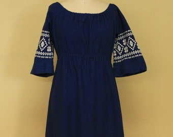 70s Vintage Gutemala Ethnic  Maxi Dress Royal Blue / White