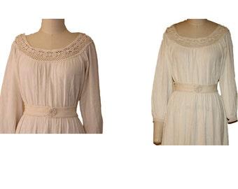 1970s Boho Crochet Lace Collar  Dress
