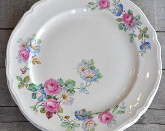 "Knowles Pink Rose Floral Vintage Plates - Set of 7 - 9"" Plates"