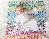 Baby Swaddle -  Rainbow wishes - Family rules - Organic cotton knit