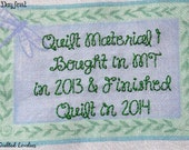 Quilt Label - Purple Dragonfly, Custom Made & Hand Embroidered