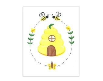 Beehive Home Original Art Print