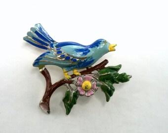 Vintage Pot Metal Blue Bird Painted Enamel Brooch 1930's