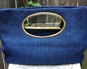 1960s Vintage Blue Fabric Clutch Handbag