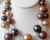Vintage Double Strand Necklace Browns, Grey & Crystals