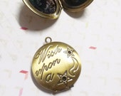 Round Locket Antiqued Brass Bronze Locket Pendant Picture Frame Pendant Photo Locket Wish Upon a Star Quote Locket Word Pendant CLEARANCE