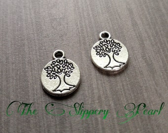 Tree Charms Tree of Life Charms Pendants Antiqued Silver Double Sided Tree Charms 25 pieces