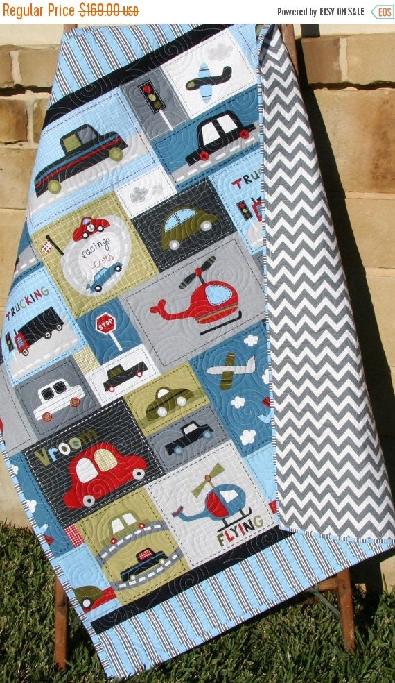 Car quilt baby boy toddler bedding vehicles by for Little blue truck fabric