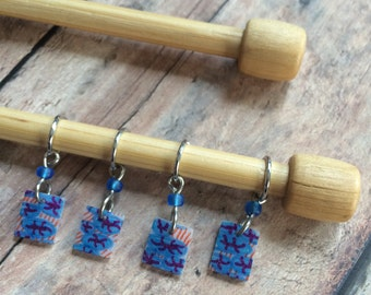 Hand Drawn Red/White/Blue Zentangle Knitting Stitch Markers - Set of 4 made of shrinky dink