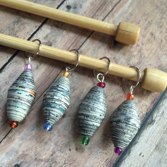 Lightweight Recycled Paper Beaded Glass Stitch Markers - Set of 4