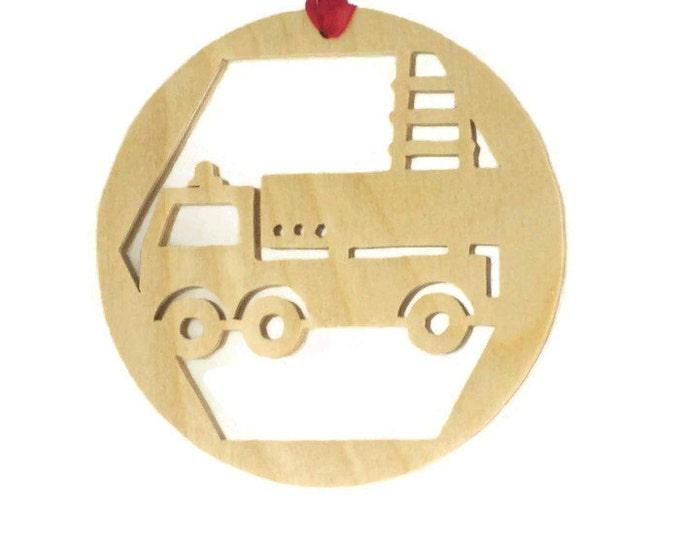Firetruck Christmas Ornament Handmade From Birch Plywood, Fire Truck, Ladder Truck, Fireman Truck,