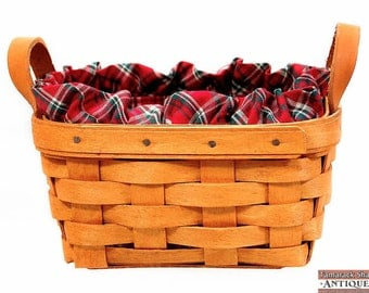 Longaberger 1992 Evergreen Basket Red Green Plaid Handwoven Leather Handle