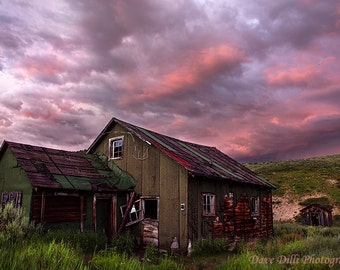 Rustic Cabin at Sunset near Steamboat Springs Colorado, fine art photograph