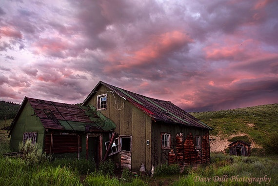 Rustic cabin at sunset near steamboat springs colorado fine for Cabins in steamboat springs