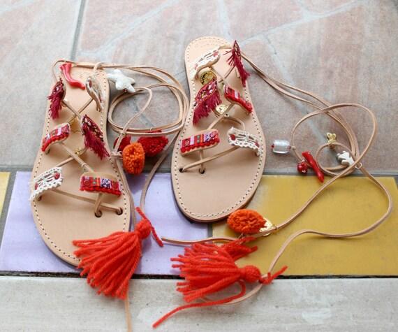 SALE Greek Sandals, Tie Up Gladiator Sandals, Pom Pom Sandals,sandales grecques