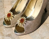 Shoe Clips, Vintage Earrings, Wedding Shoes, Gold, Adornment, Upcycled, Recycled, Jennifer Jones, OOAK, Accessory, Wedding - Sunflowers
