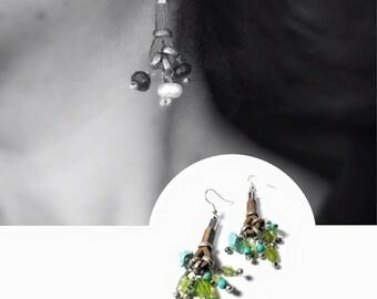 Leather Earrings, green earring, Dangle earrings, Cluster leather earrings, Accessories,  Turquoise dangle earrings, Bouquet earrings