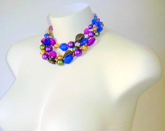 Vintage Necklace Blue and Purple Multi Strand Statement Made in Germany Choker Gorgeous