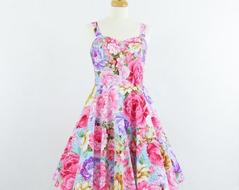 Floral bridesmaid dress, Vintage inspired, sleeveless dress with sweetheart neckline.