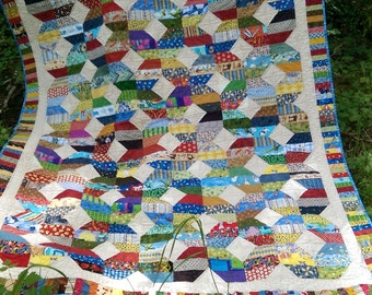 "Scraps of Life Quilt, Colorful, 64"" x 82"""