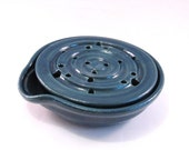 Soap Dish with Drain Tray - One Piece Soap Saver for Kitchen or Bath - Handmade Pottery Glazed in Glossy Teal
