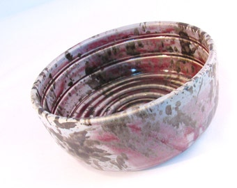Large Shaving Bowl with Ridges for Good Soap Lather, Comfort Shave - Handmade Pottery Glazed Lavender Grey, Cranberry Red & Metallic Bronze