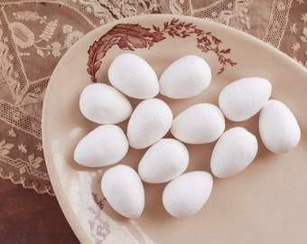 Spun Cotton Eggs, 40mm - Vintage-Style Craft Shapes, 12 Pcs.