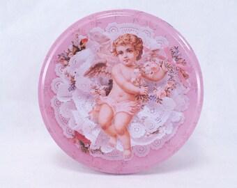 "Cupid Tin ""Romance in Bloom"" Vintage 80s"