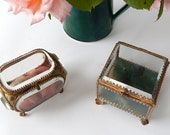 1 ENGAGEMENT RING BOX Your Choice! French Antique Glass Trinket Box Belle Epoque with Metal Mountings