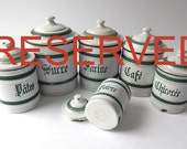 RESERVED FOR WENDY 2nd Payment of 3 for  6 French Vintage Enamelware Canisters with Lids Blue-Green and White and 6 Brulot Cups