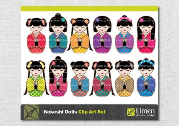 Items similar to Kokeshi Clip Art, Kokeshi Dolls, Japanese ...
