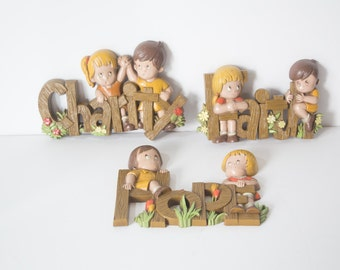 Burwood Products, Co. Wall Hangings - Made in USA - Faith, Hope and Charity - Set of Three (3)