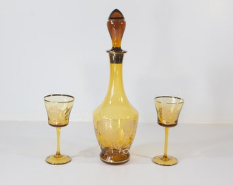 Toscany Amber Decanter and Glass Set with Gold Floral Pattern - Hand Made in Romania - Glass Stopper