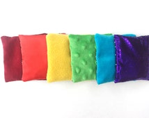 Sensory Bean Bags 6 Rainbow Contrasting Touch Toys, Cherry Stone Filling