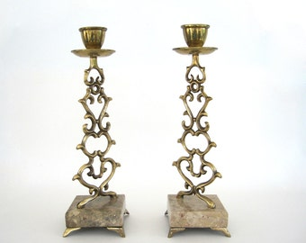 Vintage Brass Candle Holder Set Candleholder Jewish Candlesticks Trumpet Ornate Marble Base Israel