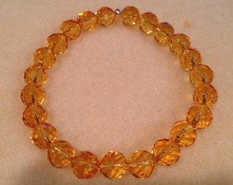 Citrine 8mm Faceted Round Bead Stretch Bracelet with Sterling Silver Accent