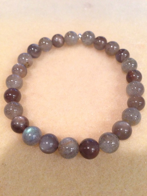 STORM Labradorite & Black Moonstone 8mm Round Bead Stretch