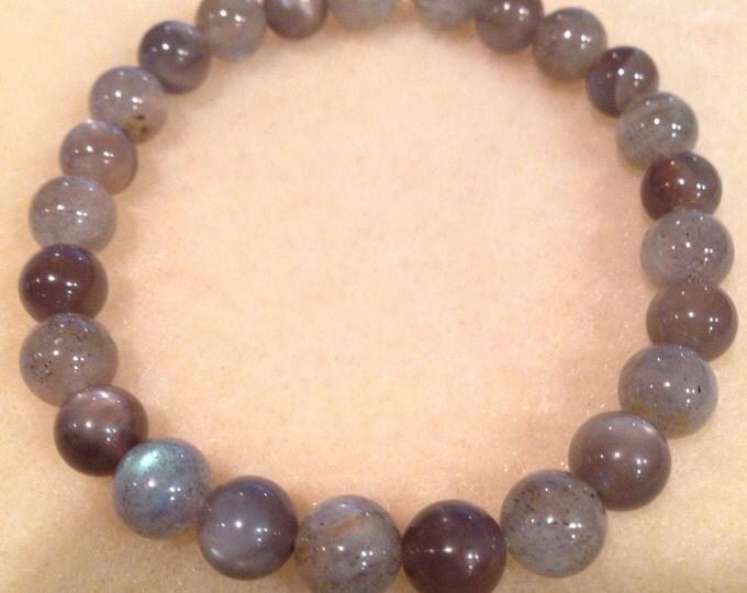 STORM Labradorite & Black Moonstone 8mm Round Bead Stretch Bracelet - Stones of Dark Moon Magic
