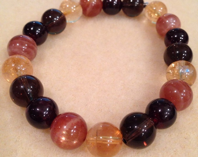 SOLSTICE Citrine, Sunstone, Garnet & Smoky Quartz 10mm Round Bead Stretch Bracelet with Sterling Silver Accent