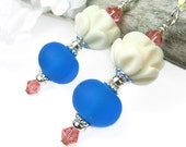 Lotus Earrings Blue Lampwork Crystals Sterling Silver Meaningful Inspirational Handmade Jewelry Carved Bone Beads Bohemian Elegance