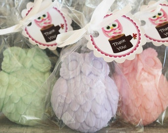 10 Owl Party Favor Soaps:  Baby Shower, Birthday favors, Bridal favors, Soap favors, Winnie the Pooh, Wedding Favors,