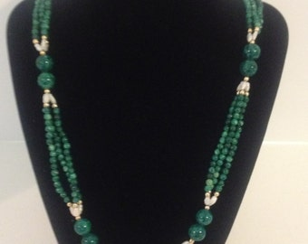 Vintage Genuine Malachite Necklace with Freshwater Pearls and Gold Beads Women's Jewelry Gift