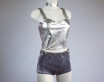 Vintage Disco Silver Leather Crop Top // M - L