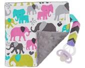 Pacifier Blanket,  Binky Blanket, Pacifier Leash Blanket, Pacifier Lovey Blanket, Minky Blanket, Elephant Baby Blanket, Baby Girl Gifts